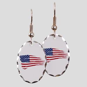 Tattered US Flag Earring Oval Charm