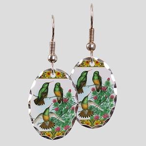 Buff Bellied Hummingbirds Earring Oval Charm