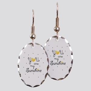 You are my sunshine - gold Earring Oval Charm