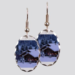 Log Cabin During Christmas Earring Oval Charm