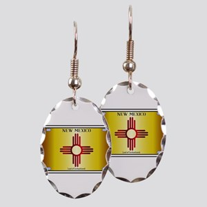 New Mexico Flag License Plate Earring Oval Charm