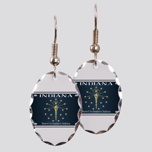 Indiana Flag License Plate Earring Oval Charm