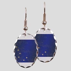 Flag of Alaska Grunge Earring Oval Charm