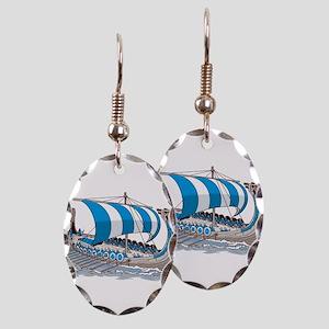 Blue Viking Ship Earring