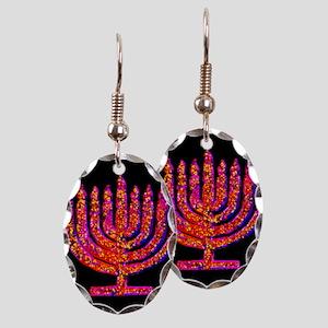 Pink Black Menorah 4Hannah Earring Oval Charm