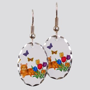 Orange Cat In Tulips Earring Oval Charm