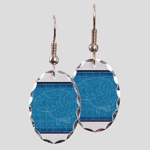 Blueprint Brain Earring Oval Charm