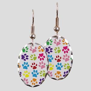 Multiple Rainbow Paw Print Desi Earring Oval Charm