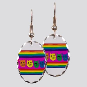 Gay rainbow cats Earring Oval Charm