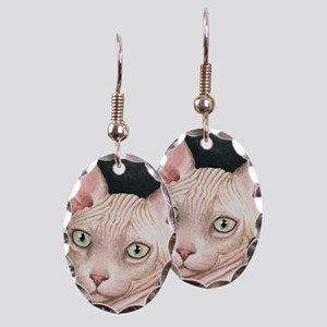 Cat 412 sphynx Earring Oval Charm