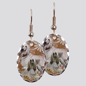 Afghan Hound Floral Earring Oval Charm