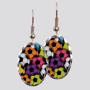 Colorful Soccer Balls Earring Oval Charm