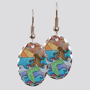 Colorful Mermaid at Sunset Beac Earring Oval Charm