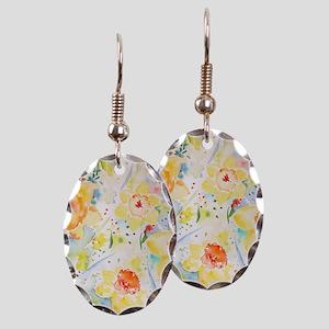 Watercolor Daffodils Pattern Earring Oval Charm