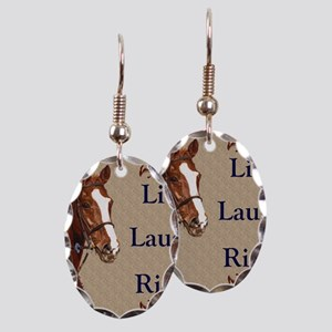 Live! Laugh! Ride! Horse Earring Oval Charm