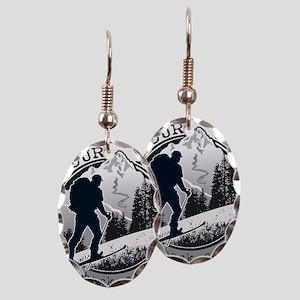 earn your turns black Earring Oval Charm