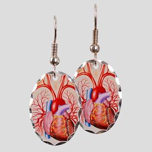 Human heart, artwork Earring Oval Charm