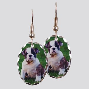 Bulldog Earring Oval Charm