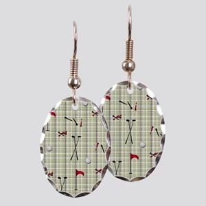 Hole in One Golf Equipment on P Earring Oval Charm