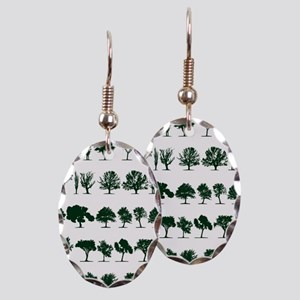 Tree Silhouettes Green 1 Earring Oval Charm