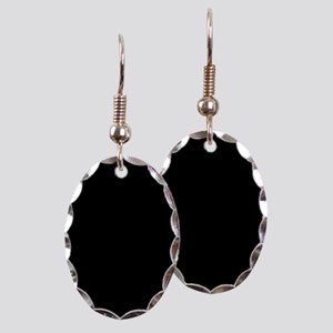 Black solid color Earring Oval Charm