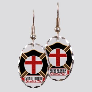 Saint Florian Shield Earring Oval Charm
