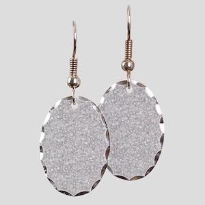 Silver Gray Glitter Sparkles Earring Oval Charm