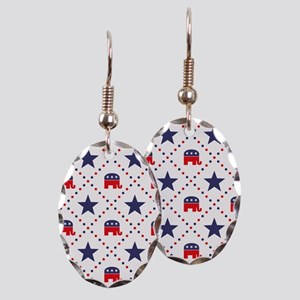 Republican Diamond Pattern Earring Oval Charm