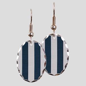 coastal blue nautical stripes Earring Oval Charm