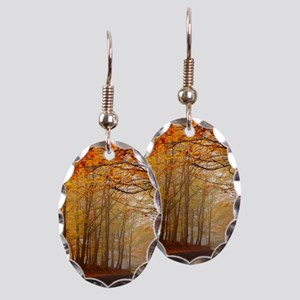 Road At Autumn Earring Oval Charm