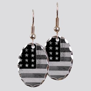 American Vintage Flag Black and Earring Oval Charm