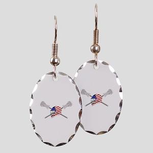 American Flag Lacrosse Helmet Earring Oval Charm