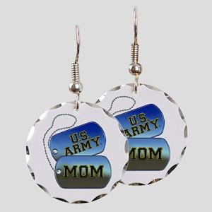 U.S. Army Mom Dog Tags Earring Circle Charm