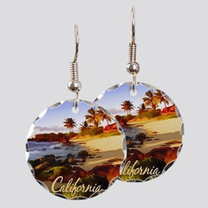 Palms, Beach, Rocks Ocean at Earring Circle Charm