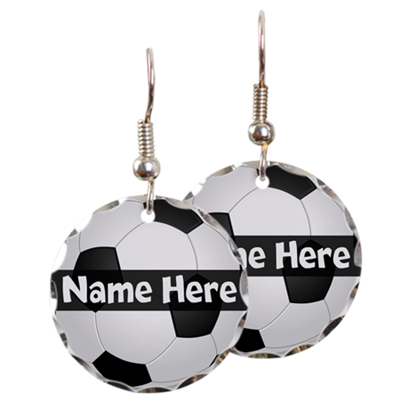 Personalized Soccer Ball Earring Circle Charm