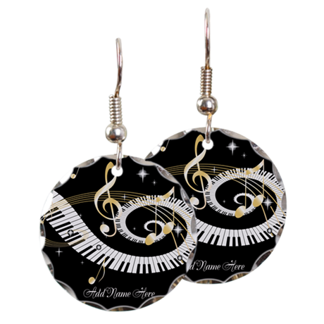 Personalized Piano Musical gi Earring Circle Charm