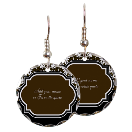Brown And Black Damask Earring Circle Charm