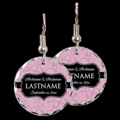 Pink Damask Wedding Favors Earring Circle Charm