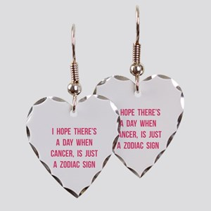 Cancer Hope Earring Heart Charm