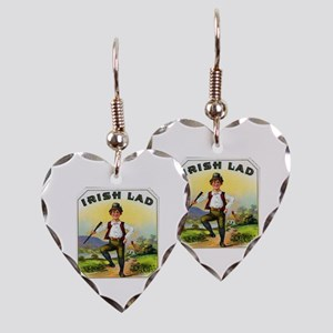 Irish Lad Cigar Label Earring Heart Charm