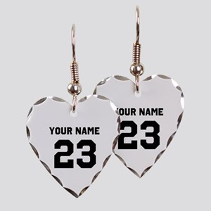 Customize sports jersey number Earring Heart Charm