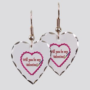 Will You Be My Valentine? Earring Heart Charm