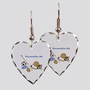 Personalized Sports Earring Heart Charm
