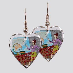 female superteacher french Earring Heart Charm