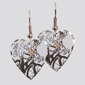 Cyclocross Rider Riding Dirty Earring Heart Charm