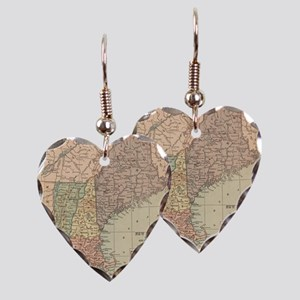Vintage Map of New England (18 Earring Heart Charm