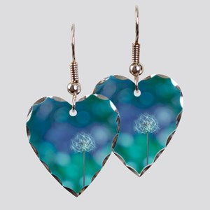 Dandelion with blue and green  Earring Heart Charm