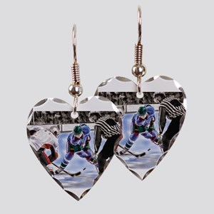 Hocky Players and Referee at C Earring Heart Charm