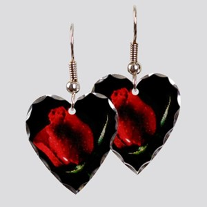 Rose Earring Heart Charm