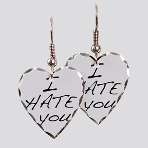 I hate you Love Earring Heart Charm